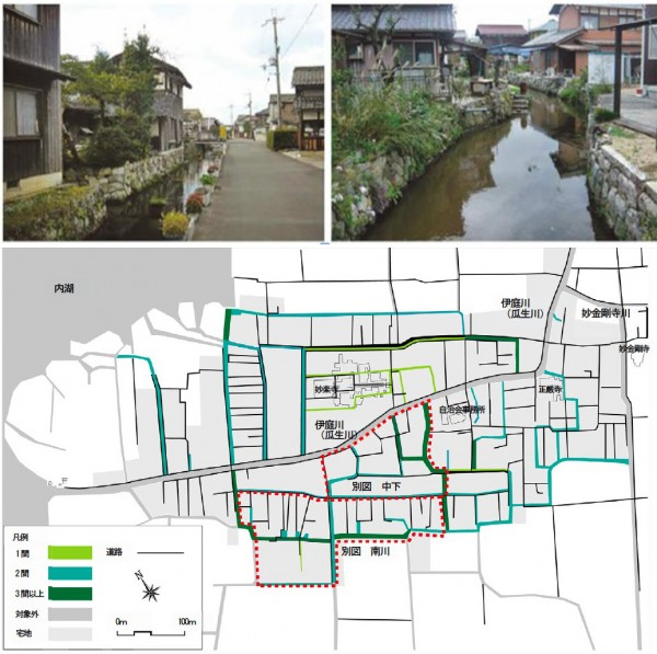 図9 東近江市伊庭町における水郷景観と水路網の復元