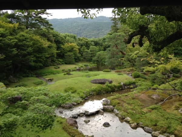 母屋2階からの庭の全景