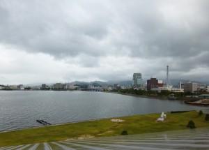 美術館の展望台から眺めた宍道湖